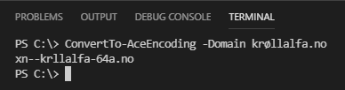Output from ConvertTo-AceEncoding