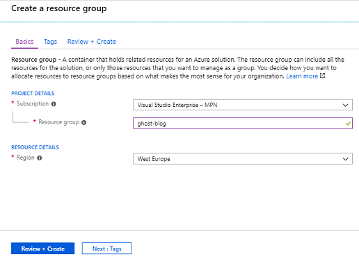 Creating a Resource Group