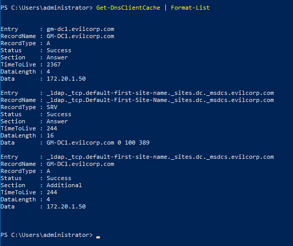 Image of Get-DnsClientCache cmdlet, a command similar to ipconfig /diaplaydns.