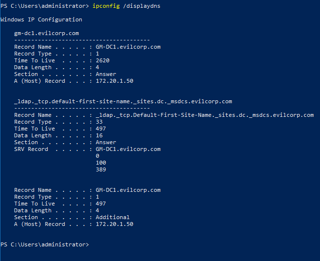 Image of ipconfig /diaplaydns command and result.