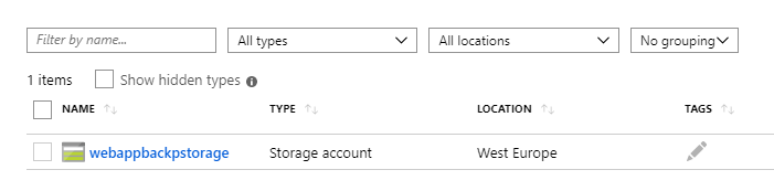 List of the resources in the Storage Account resource group in Azure Portal