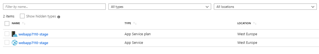 List of the resources in the Web App resource group in Azure Portal