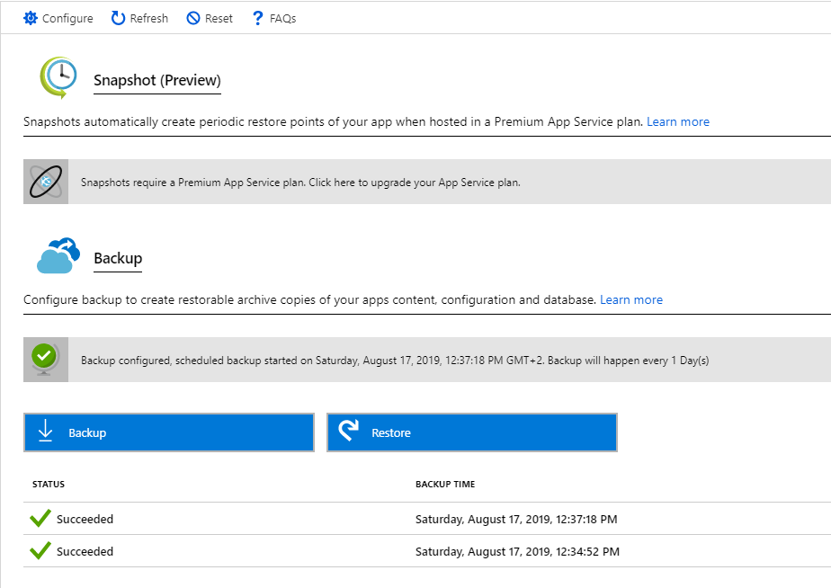 Overview of the backup configuration blade in the Azure Portal