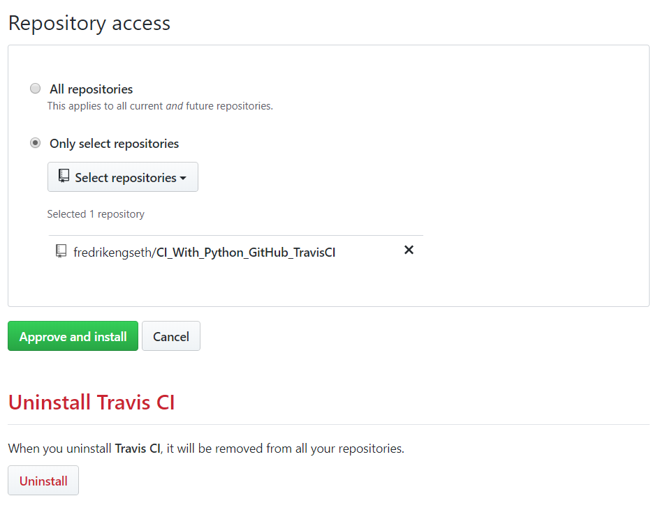 Given TravisCI access to GitHub repository
