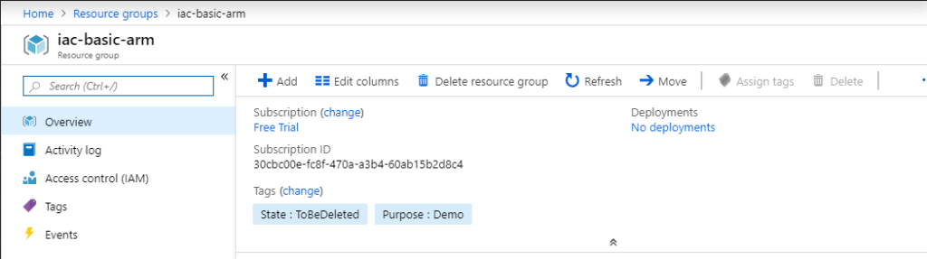 Resource Group Overview pane updated with tags