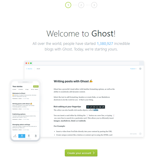 Ghost Welcome site