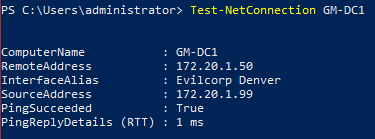 Image of Test-NetConnection cmdlet using host name.
