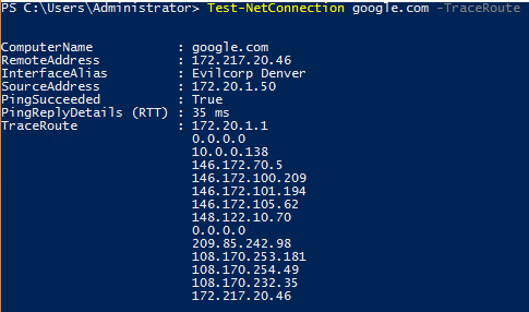 Image of Test-NetConnection -TraceRoute example