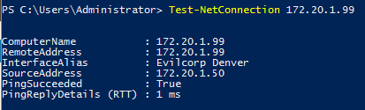 Image of result from Test-NetConnection cmdlet. Success result.