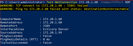 Image Test-NetConnection with Port name. Failed result.