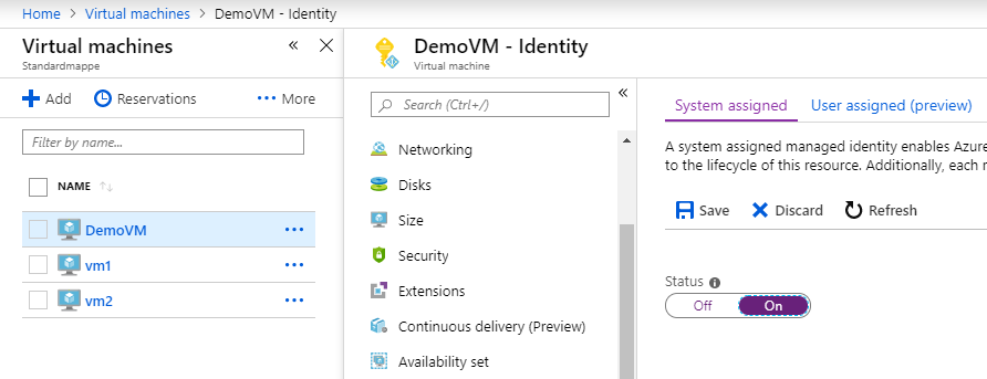 Enabling Identity permissions to Azure resources