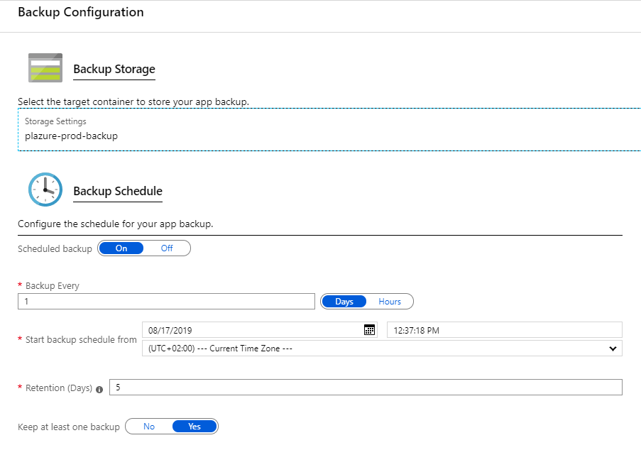 The backup configuration settings blade in the Azure Portal
