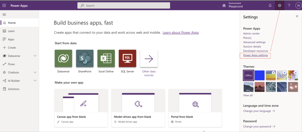 Go to settings in make.powerapps.com