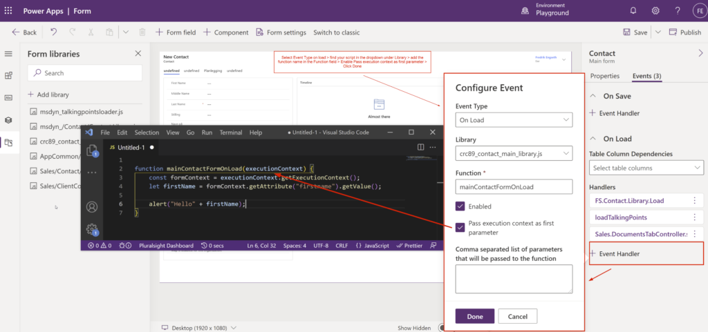 How to add JavaScript event to Dynamics 365 Form